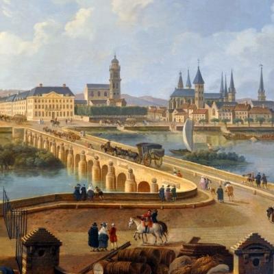 Vue de tours à la fin du XVIIIeme siècle - Tableau de Demachy